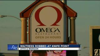 Robbery suspect holds Omega Restaurant waitress at knifepoint - Video
