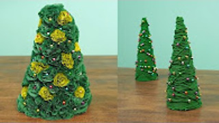 Learn how to easily make two cute miniature Christmas trees! - Video