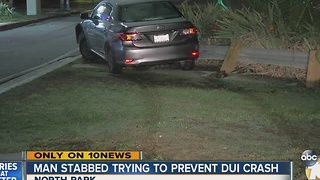 Man stabbed trying to prevent DUI crash - Video
