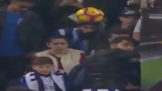 Unlucky fan gets hit in face by ball during match