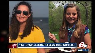 Vigil for girls killed after car crashed into home - Video