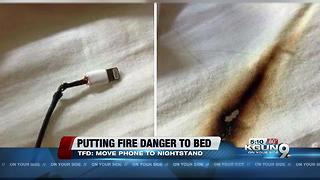 Tucson Fire says don't charge phone under pillow - Video