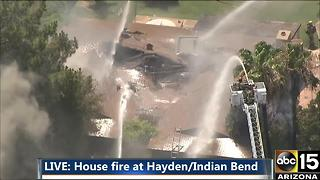Air15 over house fire near Hayden and Indian Bend - Video