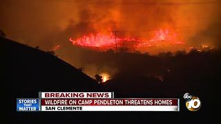 Wildfire on Camp Pendleton threatening homes - Video