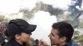 Man leaves girlfriend breathless with proposal – or it might be the trek up Machu Picchu