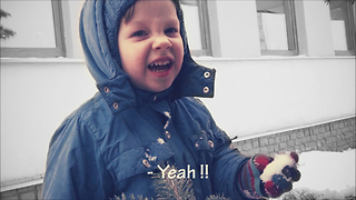 The little boy very loves snow - Video