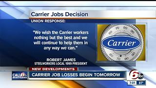 First wave of Carrier layoffs begin Thursday, second round will begin 3 days before Christmas - Video