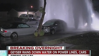 Huge geyser after car crashes into hydrant in Spring Valley - Video