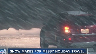 Friday snow slows down holiday travelers - Video