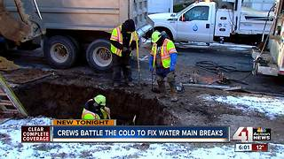 KC Water crews brave single-digit temperatures - Video