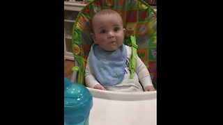 Baby can't hide his excitement for food! - Video