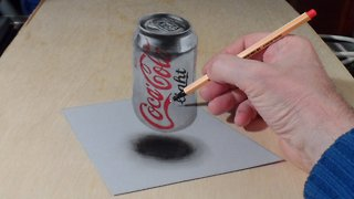 How to draw a 3D levitating Coca-Cola can - Video