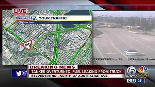 Tanker overturns on Belvedere Road near Australian Ave. - Video