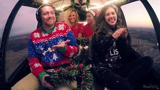 Singing Christmas carols from a helicopter - Video