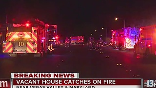 Vacant house fire near Vegas Valley and Maryland - Video