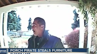 Porch pirate steals furniture - Video