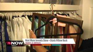 Mom invents stack pillow rack
