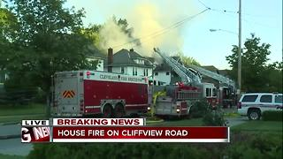 Fire crews battle house fire on Cliffview Avenue - Video