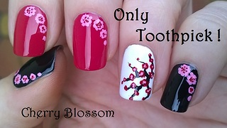 Cherry Blossom Nail Art Using Only Toothpick - Video