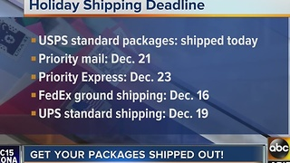 Have you shipped all of your holiday packages? Here are the deadlines - Video