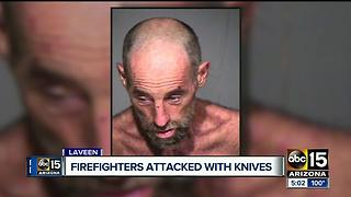 PD: Man threatens to stab firefighters at Laveen brush fire - Video