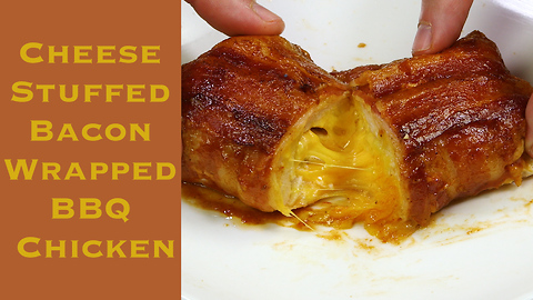 Cheese stuffed, bacon wrapped BBQ chicken recipe