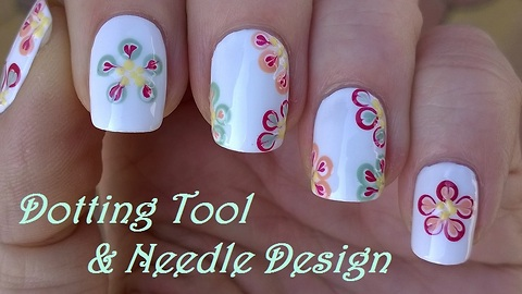 Dotting tool & needle nail art: Colorful floral design over white nails