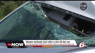 Car windshield smashed by flying tire on I-465 SB1 - Video