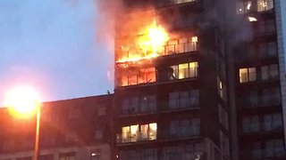 Fire Burns Through Two Floors of Manchester Apartment Building - Video