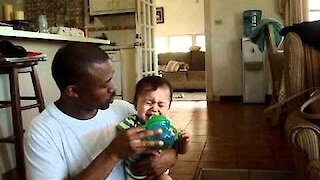 Toddler will only drink from dad's cup, boycotts his bottle