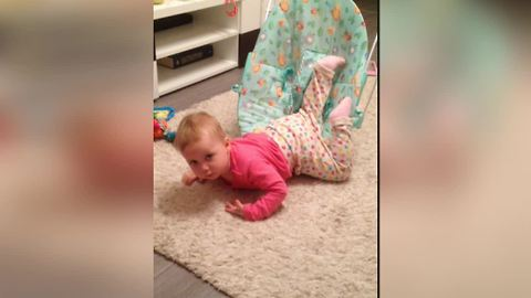 Toddler face plants, shakes it off like a boss