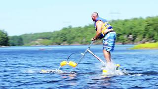Bizarre motorless contraption skims across water