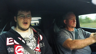 Son's comical reaction to Lamborghini full throttle acceleration - Video