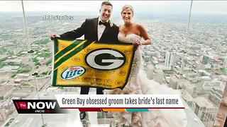 Green Bay obsessed groom takes his wife's last name - Video