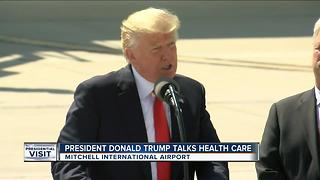 President Trump talks healthcare at Mitchell Airport - Video
