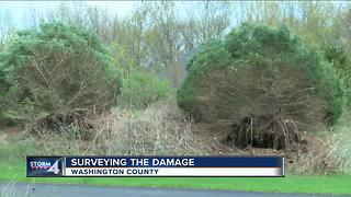 Surveying the damage after Washington County tornado - Video