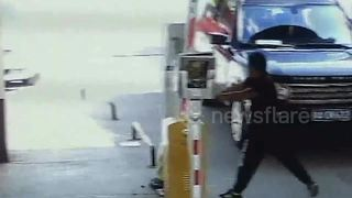 Car driver smashes access control barrier in residential area - Video