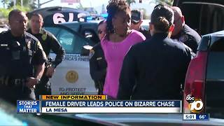 Female driver leads police on bizarre chase - Video