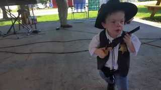 Adorable Little Cowboy Enjoys the Tunes - Video