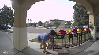 Package stolen by woman with child in stroller - Video