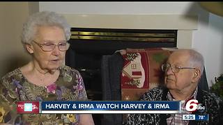 Elderly couple named Harvey and Irma watch Hurricanes Harvey and Irma hit the coast - Video