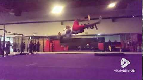 One footed somersault in slow motion