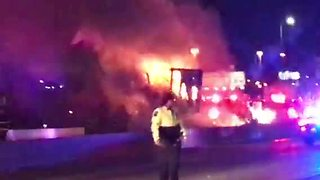 VIDEO: Semi catches fire after crash on High Rise Bridge in Milwaukee - Video