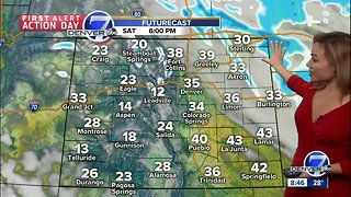 Windy and cool Saturday, with snow likely in Denver Sunday