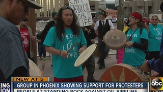 People hold North Dakota Access Pipeline protest in downtown Phoenix - Video
