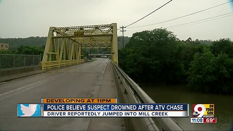 Police pursuit ends in possible drowning