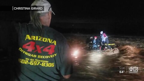 VIDEO: Family saved from rushing floodwaters at Sycamore Creek