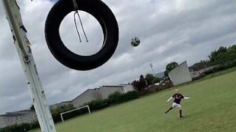 Kid's perseverance allows him to pull off epic trick shot | Never give up!