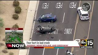 Four people taken to the hospital after a crash near 19th Ave and Greenway - Video