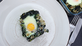 Fried eggs in spinach nest recipe